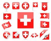 De Vlag Vectorreeks van Zwitserland Stock Foto