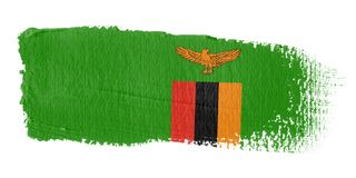 De Vlag Zambia van de penseelstreek Royalty-vrije Stock Foto