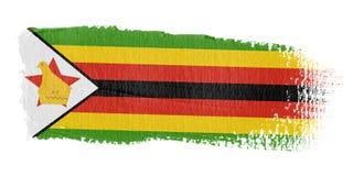 De Vlag Zimbabwe van de penseelstreek Stock Foto's