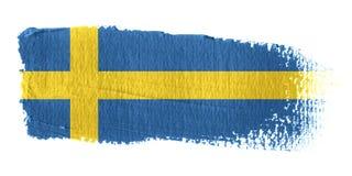 De Vlag Zweden van de penseelstreek Stock Fotografie