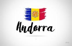 de vlagconcept van het land van Andorra met het pictogramembleem van het grungeontwerp vector illustratie