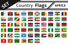 De vlaggen Afrika van landen Stock Foto's