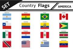 De vlaggen Amerika van landen Stock Afbeeldingen