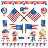 De vlaggen en de rozetten van de V.S. Stock Foto's