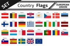 De vlaggen Europa van landen Stock Afbeeldingen