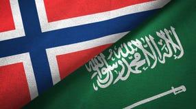 De vlaggen textieldoek van Noorwegen en van Saudi-Arabië royalty-vrije illustratie