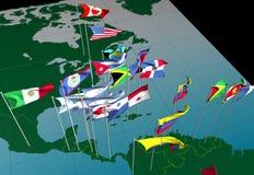 De vlaggen van Amerika op kaart (centrale mening) Stock Fotografie