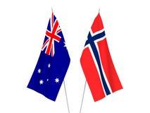 De vlaggen van Australië en van Noorwegen royalty-vrije illustratie