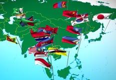 De vlaggen van Azië op kaart (de mening van het Zuidoosten) Royalty-vrije Stock Afbeeldingen