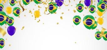 De vlaggen van Brazilië en de ballonsslinger van Brazilië met confettien op wit stock illustratie