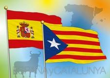 De vlaggen van Catalonië en van Spanje Stock Afbeelding