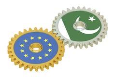 De vlaggen van de EU en van Pakistan op toestellen, het 3D teruggeven Royalty-vrije Stock Afbeelding