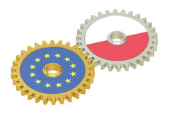 De vlaggen van de EU en van Polen op toestellen, het 3D teruggeven Stock Foto