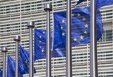 De Vlaggen van de Europese Unie in Brussel Stock Afbeelding