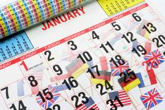 De Vlaggen van de kalender en van de Wereld Royalty-vrije Stock Afbeeldingen