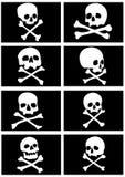 De vlaggen van de piraat met schedels en gekruiste knekels Stock Foto's