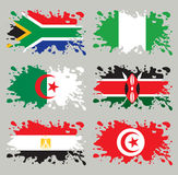 De vlaggen van de plons geplaatst Afrika Stock Afbeeldingen