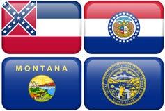 De Vlaggen van de staat: De Mississippi, Missouri, Montana, Ne Stock Fotografie