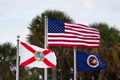 De Vlaggen van de V.S., de Staat van Florida en van NASA Royalty-vrije Stock Foto