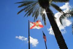 De vlaggen van de V.S. en van Florida tegen het licht Royalty-vrije Stock Fotografie