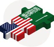 De Vlaggen van de V.S. en van Saudi-Arabië in raadsel Stock Afbeelding