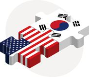De Vlaggen van de V.S. en van Zuid-Korea in raadsel Stock Fotografie
