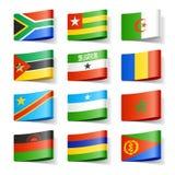 De vlaggen van de wereld. Afrika. Stock Foto's