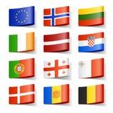 De vlaggen van de wereld. Europa. Stock Foto's