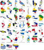 De vlaggen van de wereld - landgrens - Amerika reeks Stock Afbeelding