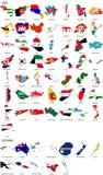 De vlaggen van de wereld - landgrens - Azië Oceanië reeks Stock Foto's