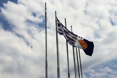 De vlaggen van Griekenland en stad van Thessaloniki Royalty-vrije Stock Fotografie