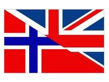 De vlaggen van Groot-Brittannië en van Noorwegen stock illustratie
