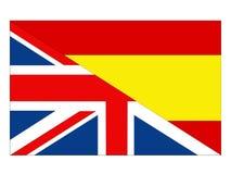 De vlaggen van Groot-Brittannië en van Spanje stock illustratie