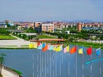 De vlaggen van het Dorp van atleten royalty-vrije stock fotografie