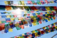De vlaggen van het gebed in Nepal Royalty-vrije Stock Afbeelding