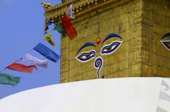 De Vlaggen van het gebed in Stupa Royalty-vrije Stock Foto's