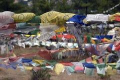 De vlaggen van het gebed, Thimphu, Bhutan Stock Afbeeldingen