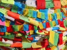 De vlaggen van het gebed in Tibet Stock Fotografie