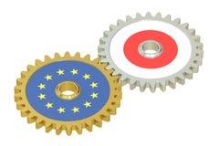 De vlaggen van Japan en de EU-op toestellen, het 3D teruggeven Royalty-vrije Stock Foto