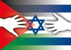 De vlaggen van Palestina en van Israël met handen Stock Foto