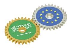 De vlaggen van Saudi-Arabië en de EU-op toestellen, het 3D teruggeven Stock Afbeeldingen