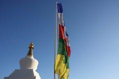 De vlaggen van Stupa en het bidden Stock Foto's
