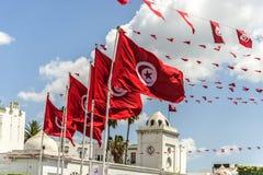 De vlaggen van Tunis Stock Afbeelding