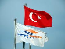 De vlaggen van Turkije en het reisbureau Stock Foto's