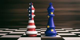 De vlaggen van de V.S. en de EU-op schaakkoningen 3D Illustratie Stock Afbeelding