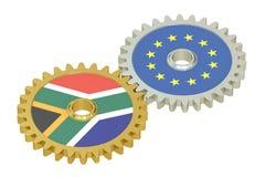 De vlaggen van Zuid-Afrika en de EU-op toestellen, het 3D teruggeven Royalty-vrije Stock Afbeeldingen