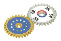 De vlaggen van Zuid-Korea en de EU-op toestellen, het 3D teruggeven Stock Foto