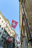 De Vlaggen van Zwitser en van Genève Stock Fotografie