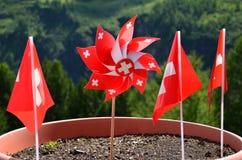 De vlaggen van Zwitserland royalty-vrije stock foto's