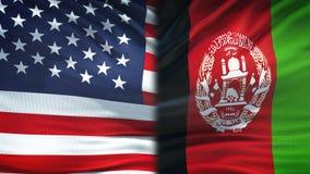 De vlaggenachtergrond van Verenigde Staten en van Afghanistan, diplomatie en economische relaties royalty-vrije illustratie